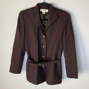 Vintage Christian Dior brown wool belted jacket 2